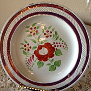 Pink Luster Cup Plate -(4) Copper borders red, orange, yellow flowers-1820