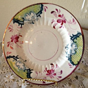 Pink/Copper Luster (C.A.&Sons)Small Plate - Green Criss-Cross Pattern, Blues & Reds-1850