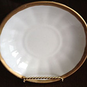 "SALE Porcelain cup plate - white w/gold trim - 5-3/4"" diameter"