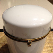 "SOLD White round antique porcelain dresser box - 3"" tall - Red Tag Sale Item"
