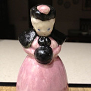 "Porcelain figurine-woman in pink dress w/black shawl 4-3/4"" high"