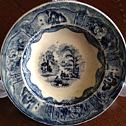 SALE Pottery Flow Blue, ca: 1870 Scottish-Cochran dish 6-1/4&quot; diameter