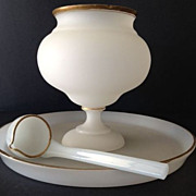 Frosted glass -ca:1880 pedestal punch bowl, ladle & tray with gold trim-1880