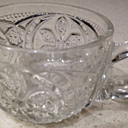 "Punch cup w/handle - antique cut crystal flowers in circle pattern - 2"" high"