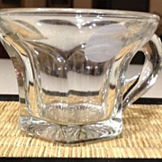 "Punch cup with handle/antique - clear crystal - 2-1/4"" high"