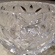 "Punch cup-cut crystal/antique - 4 panel/sections of flowers - 2"" high"