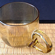 Punch cup with handle - antique - amber solid/clear colored - octagon