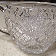"Punch cup with handle cut crystal - antique - fans&diamond design/pattern 2-1/2"" high"