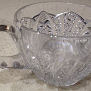 "Punch cup - cut crystal, antique - diamond cut handle - 2-1/4"" high"