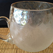 "Punch cup with handle/antique-clear & frosted glass 2-1/2"" high"