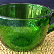 "Punch cup - antique green glass clear/solid with handle - 2-1/4"" high"