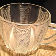 "Punch cup-paneled clear & beaded glass -antique 2-1/2"" high"