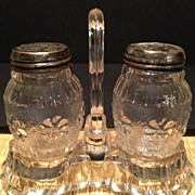 Roman Rosette Salt & Pepper Shakers with Glass Caddy-Antique