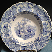 "Royal Manufactory Blue & White Antique Soup Plate -1830""s"