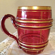 Cranberry Color W/ Gold Bands Mug- Barrel Shape - Late 19th Century