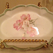 "R S Prussia ""Red Mark"" Small Dresser Dish - 1890's Pink&White Flowers"