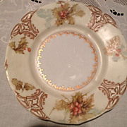 "Silesia Old Ivory XXII Plate - Porcelain China Hand Painted ""Hollyberries"""