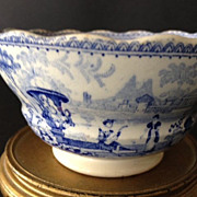 SALE Staffordshire English Small Antique Porcelain Blue & White Bowl/Cup