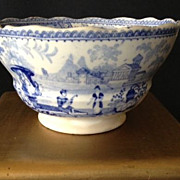 SALE Staffordshire English Small Bowl/Cup Antique-Blue & White
