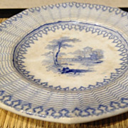 "Staffordshire English antique -ca:1844 country scene small plate - 3-3/4"" diameter"