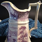 Stoneware Octagonal Cream Pitcher - Purple & White -English Scene - Ca:1830