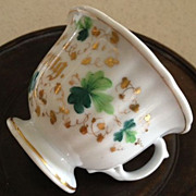 SALE TPM porcelain German inscribed cup - green/gold floral designs