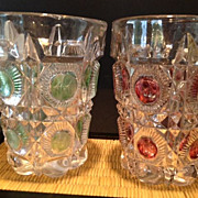 "Tumblers ""Bulls Eye & Daisy"" (2glasses-one Green & one Ruby)-1909"
