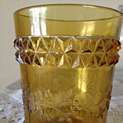 "Tumbler Amber Colored - Adams ""Wildflower"" 1870's"