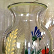 "Vase - small hand painted glass with flowers 2-7/8"" tall"