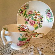 White W/Green,Pink,Yellow,Purple & Bird Porcelain Cup & Saucer-1800's