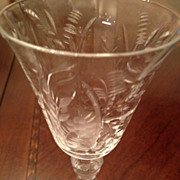 SALE Wine glass with floral etching 5-7/8 inches tall