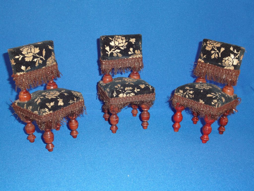 Three  antique doll house Cromwellian upholstered chairs