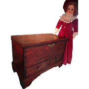 SOLD Antique English Chippendale Miniature Blanket Chest