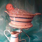 French Tin Tole Miniature Pitcher and Bowl on Stand