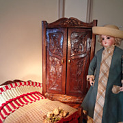 French Antique Doll's Armoire, Bed, and Linens