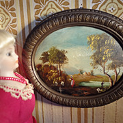 Miniature Painting of Pastoral Scene in Oval Frame