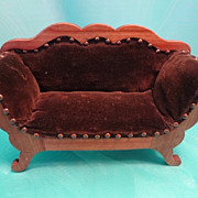 Doll House Sofa with Brown Velvet Upholstery