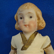 "3 1/2"" All Bisque Doll  with Blonde Molded Hair"