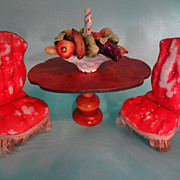 Pair Doll House Silk French Parlor Chairs