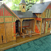 Gottschalk Antique Blue Roof Stable with Living Quarters Garage