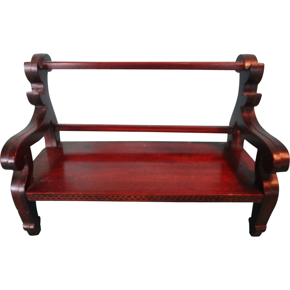 Miniature Mahogany Bench With Scroll Arms And Fine Herringbone Inlay From Jackieeverett On Ruby Lane