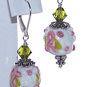 SALE Bali Sterling Silver Artisan Breast Cancer Awareness Lampwork Bead Earrings