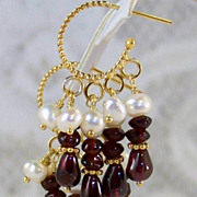 "24K GV A+ Garnet Cultured Freshwater Pearl Chandelier Hoop Earrings 1.5"" long. Gift for H"