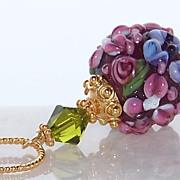 SALE Mother's Day Jewelry Gift Pendant- 24K GV Artisan Floral Lampwork Bead Bali 24K Gold Verm