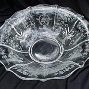 Elegant Glass Etched Console Bowl by Fostoria, Meadow Rose