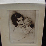 Vintage Lithograph of Mother and Child by American Artist, J. Knowles Hare 1887-1947