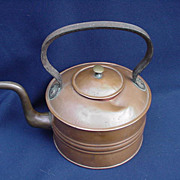 Copper Tea Kettle with Brass Rivets, Rigid Handle, Gooseneck Spout