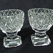 Pair of Cut Glass Master Salts with Beveled Pedestal Bases