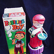 Mechanical Bubbling Boy Toy, 1950s, Tin Lithograph, Japan, San