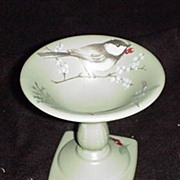 Pfaltzgraff  Winterwood Bird Bath Candle Holder or Compote  with Winter Bird Scene